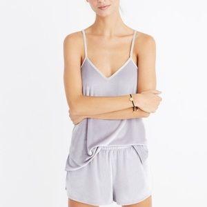 Madewell Grey Velvet Pajama Cami & Shorts Set